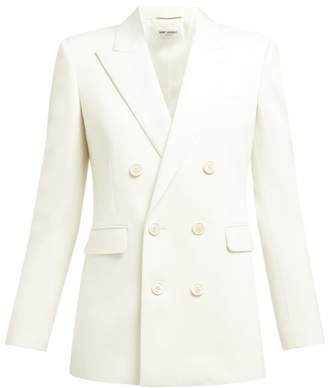 Saint Laurent Double Breasted Wool Blazer - Womens - White