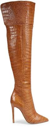 Brother Vellies Florence Croc-Print Leather Over-the-Knee Boots