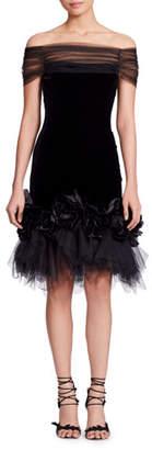 Marchesa Off-the-Shoulder Velvet Cocktail Dress w/ Flowers & Tulle