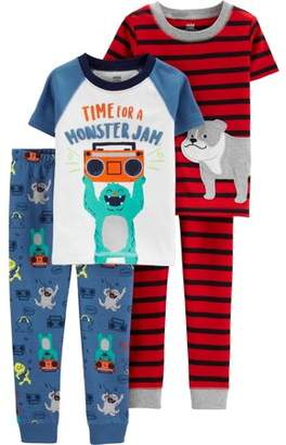 Carter's Child of Mine by Short Sleeve T-Shirt and Pant Cotton Pajama Bundle, 2 sets (Baby Boys)
