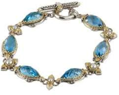 Konstantino Amphitrite 3-4MM White Pearl, Swiss Blue Topaz and Sterling Silver Bracelet