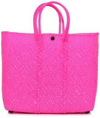 Truss Small Tote with Leather Pocket in Fuschia