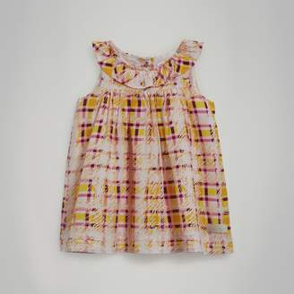 Burberry Gathered Scribble Check Print Silk Dress , Size: 3Y