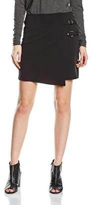 New Look Women's Scuba Crepe Double Buckle Mini A-Line Skirt,6
