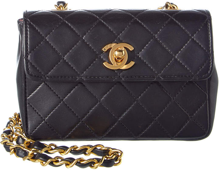Chanel Black Quilted Lambskin Leather Square Extra Mini Flap Bag