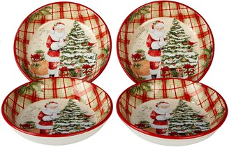 Certified International Holiday Wishes 4-piece Soup / Pasta Bowl Set