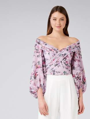 Forever New Shay Shawl Off Shoulder Top - Pink Floral - 4