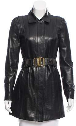 Gucci Leather Belted Coat w/ Tags