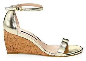 Stuart Weitzman Women's Nearlynude Metallic Leather & Cork Wedges