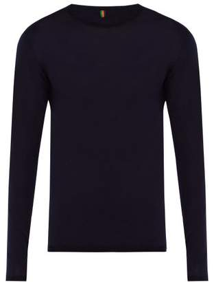Iffley Road - Dartmoor Long Sleeved Merino Top - Mens - Blue