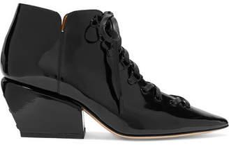 Petar Petrov Sacha Cutout Patent-leather Ankle Boots - Black