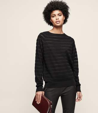 Reiss Saffi - Sheer-stripe Jumper in Black