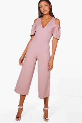 boohoo Tall Cold Shoulder Culotte Jumpsuit