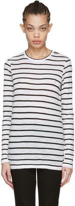 Proenza Schouler White Long Sleeve Pinstripe T-Shirt $290 thestylecure.com