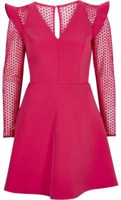 River Island Womens Bright pink lace insert frill skater dress