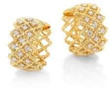 "Roberto Coin New Barocco Diamond& 18K Yellow Gold Hoop Earrings/0.7"""