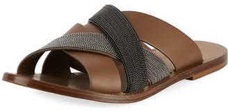 Brunello Cucinelli Leather and Monili Flat Slide Sandal