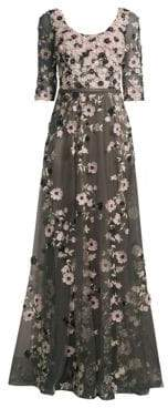Basix II Black Label Quarter-Sleeve Floral Embroidered Gown