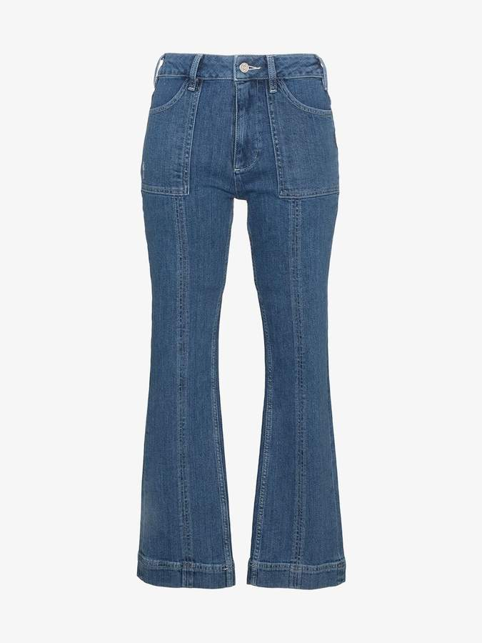 flat pockets cropped flared jeans