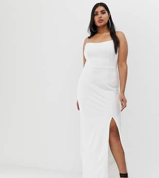 Club L London Plus square neck midaxi dress in white