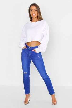 boohoo Petite Mid Rise Skinny Ripped Knee Jean