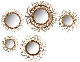 Twos Company Natural Rattan Wall Mirrors (Set of 5)