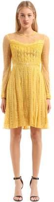 Embellished Lace & Chiffon Mini Dress