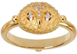 Temple St. Clair 18K Yellow Gold Pavé Diamond Mini Owl Ring