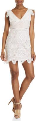 Lush V-Neck Lace Shift Dress