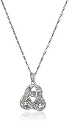 Sterling Silver Diamond Knot Pendant Necklace (1/10 cttw)