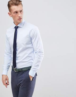 Michael Kors Slim Fit Smart Shirt In Light Blue Stretch