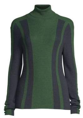 Piazza Sempione Wool& Silk Intarsia Knit Turtleneck