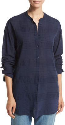 Vince Tonal-Stripe Half-Placket Tunic