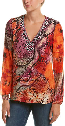 Hale Bob Beaded Silk Top