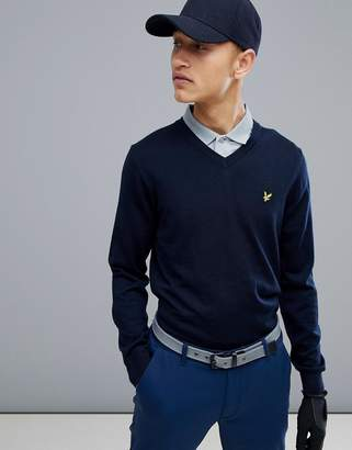 Lyle & Scott Golf Bowmont v neck merino knit sweater in navy