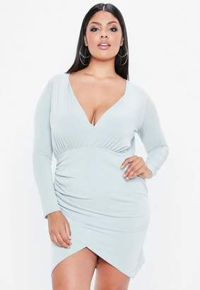 Missguided Curve Gray Wrap Slinky Dress