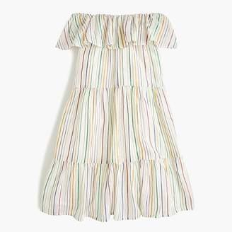 J.Crew Girls' off-the-shoulder tiered-ruffle dress in rainbow stripe