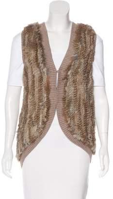 Joie Rabbit Fur-Trimmed Wool Vest