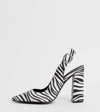 Asos Design DESIGN Wide Fit Penley slingback high block heels in zebra print