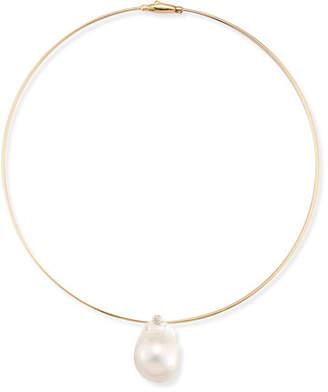Mizuki Medium Single Pearl Collar Necklace