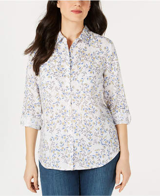Charter Club Printed Linen Button-Up Top