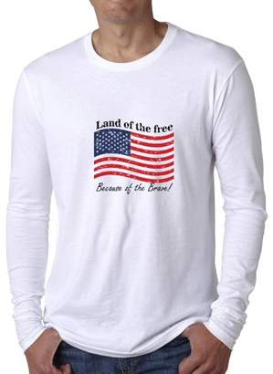 Hollywood Thread Land Of The Free Because Of The Brave - American Men's Long Sleeve T-Shirt