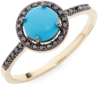 Suzanne Kalan Women's 0.25 TCW Black Diamond Turquoise 14K Yellow Gold Ring
