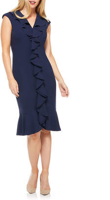 Maggy London Cascading Ruffle Flounce Sheath Dress