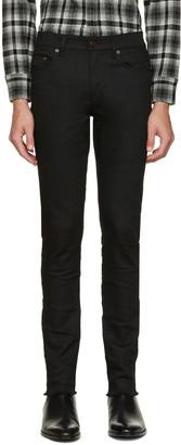 Saint Laurent Black Original Mid Waisted Raw Edge Skinny Jeans $590 thestylecure.com