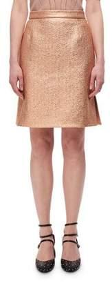 Carven Metallic High-Rise Straight Skirt, Copper