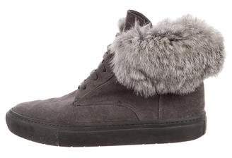 Vince Fur-Trimmed High-Top Sneakers