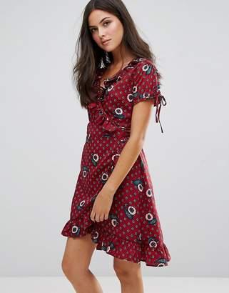 Yumi Paisley Print Frill Wrap Dress