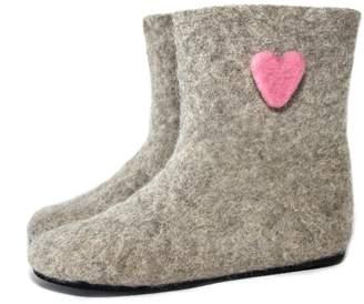Felt Forma Felt Hearts Natural Wool Boots