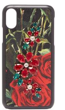 Dolce & Gabbana Crystal Embellished Rose Print Iphone X Case - Womens - Black Red